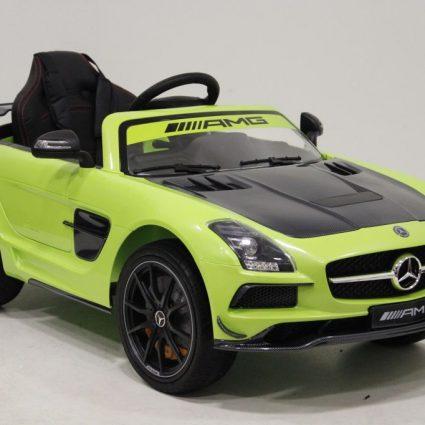Электромобиль Mercedes-Benz SLS AMG VIP Carbon зеленый (колеса резина, сиденье кожа, пульт, музыка, электроусилитель)