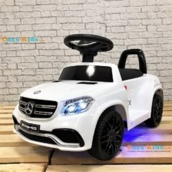 Электромобиль каталка Mercedes-AMG GLS63 HL600 LUX белый (колеса резина, кресло кожа, пульт, музыка)